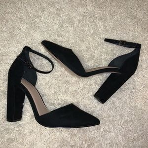 Asos point toe black wide width heels